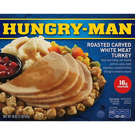 HUNGRY-MAN Frozen Meal Turkey Roasted Carved White Meat - 16 Oz