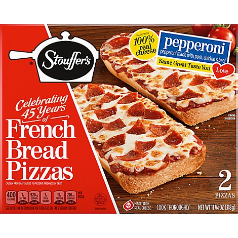 STOUFFERS Meal Pizza French Bread Pepperoni 2 Count Frozen - 11.25 Oz
