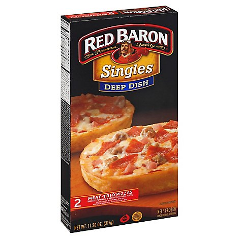 Red Baron Pizza Deep Dish Meat Microwaveable Frozen - 12 Oz