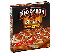 Red Baron Pizza French Bread Singles Three Meat 2 Count - 11 Oz