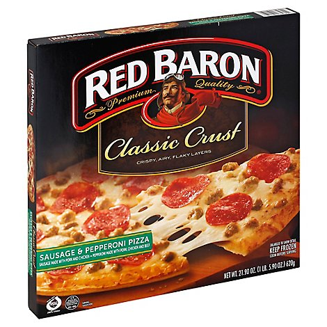 Red Baron Pizza Classic Crust Sausage & Pepperoni Frozen - 23.1 Oz