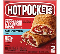 Hot Pockets Sandwiches Seasoned Crust Garlic Buttery Pepperoni & Sausage Pizza 2 Count - 9 Oz