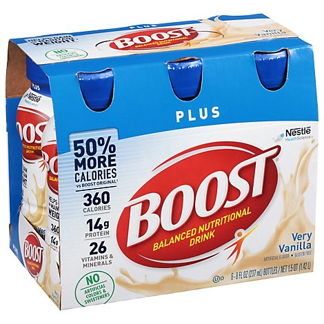 BOOST Plus Nutrional Drik Very Vanilla - 6-8 Fl. Oz.