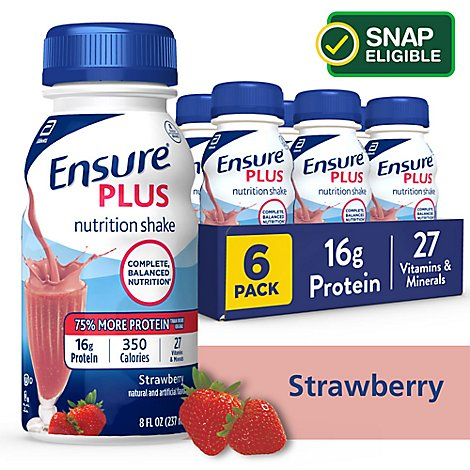 Ensure Plus Nutrition Shake Ready To Drink Strawberry 6-8 Fl. Oz.
