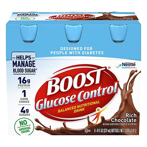 BOOST Glucose Control Nutritional Drink Rich Chocolate - 6-8 Fl. Oz.