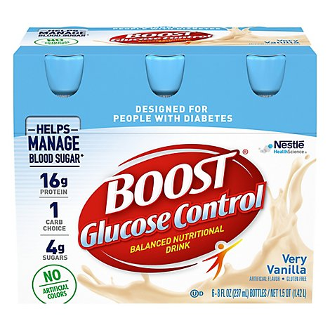 Boost Nutritional Drink Balanced Glucose Control Very Vanilla - 6-8 Fl. Oz.