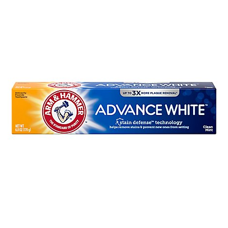 ARM & HAMMER Advance White Toothpaste Fluoride Anticavity Fresh Mint Flavor - 6 Oz