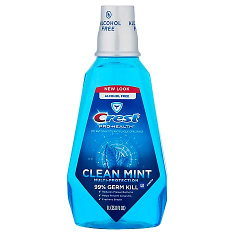 Crest Pro Health Mouthwash Multi-Protection Clean Mint - 33.8 Fl. Oz.