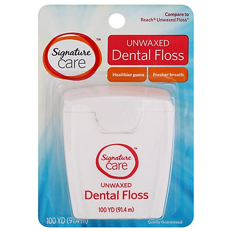 Signature Care Dental Floss Unwaxed 100 Yards - Each