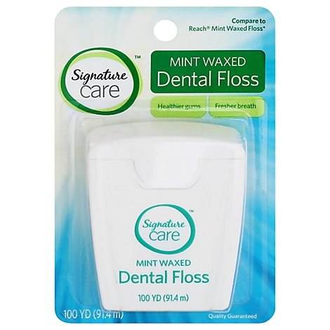 Signature Care Dental Floss Waxed Mint 100 Yards - Each