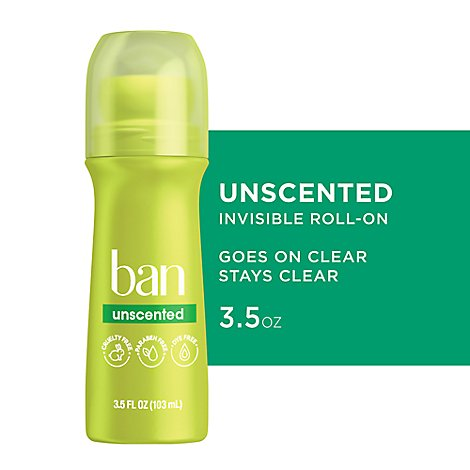 Ban Antiperspirant Deodorant Roll-On Unscented - 3.5 Fl. Oz.