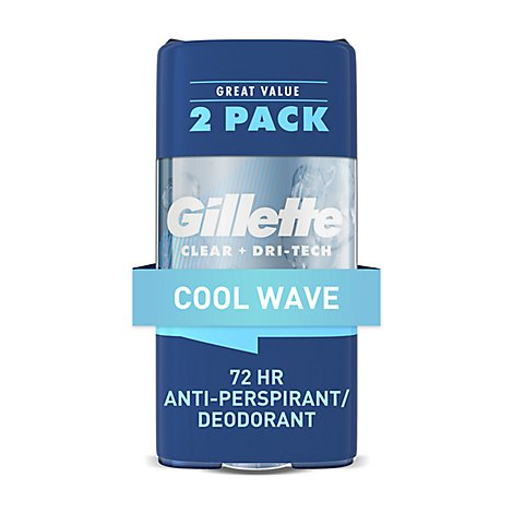 Gillette Clear Gel Antiperspirant Deodorant Cool Wave 2 Count - 3.8 Oz