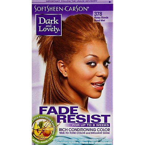 Dark And Lovely Permanent Haircolor Honey Blonde 378 Fade Resist - Each