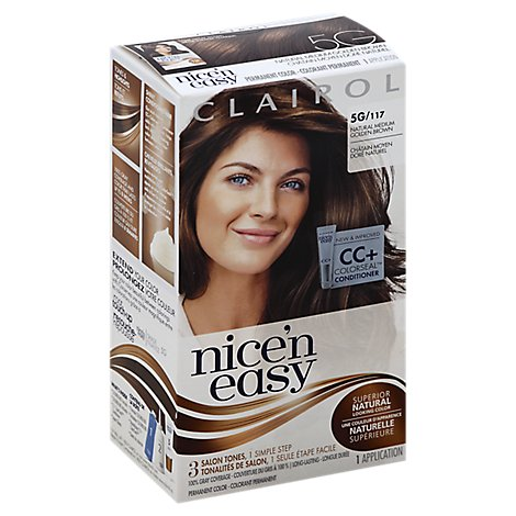 CLAIROL Nice & Easy Hair Color Permanent Natural Medium Golden Brown 117 - Each