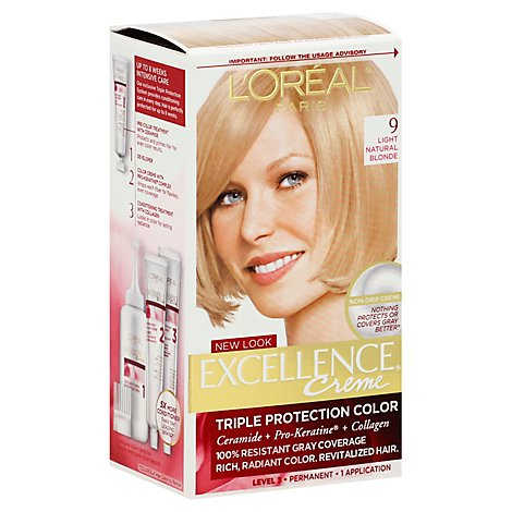 LOreal Excellence Creme Haircolor Permanent Light Natural Blonde 9 - Each