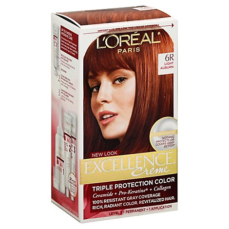 Excellence Creme Hair Color Triple Protection Color Light Auburn 6r - Each