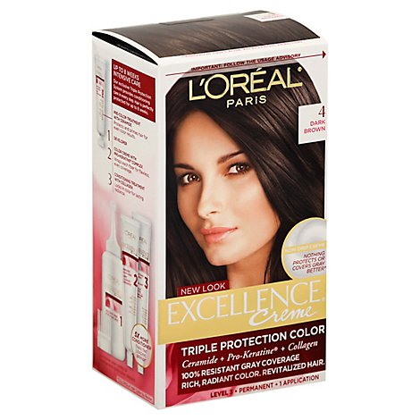 LOreal Excellence Hair Color Creme Triple Protection Dark Brown 4 - Each