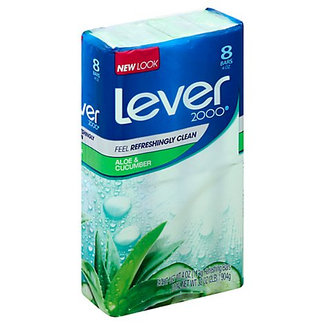 Lever 2000 Bar Soap Clean Rinsing Fresh Aloe - 8-4 Oz