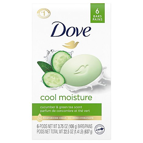 Dove Beauty Bar Cool Moisture Cucumber & Green Tea - 6-4 Oz