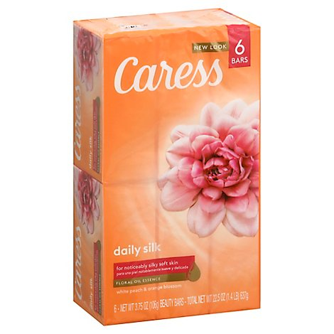 Caress Daily Silk Beauty Bar Silkening White Peach & Silky Orange Blossom - 6-4 Oz