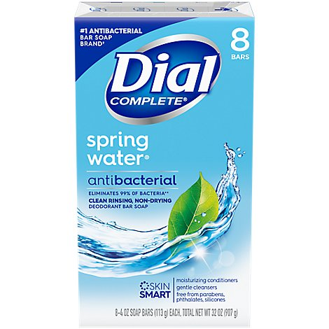 Dial Bath Bar Soap Spring Water - 8-4.5 Oz