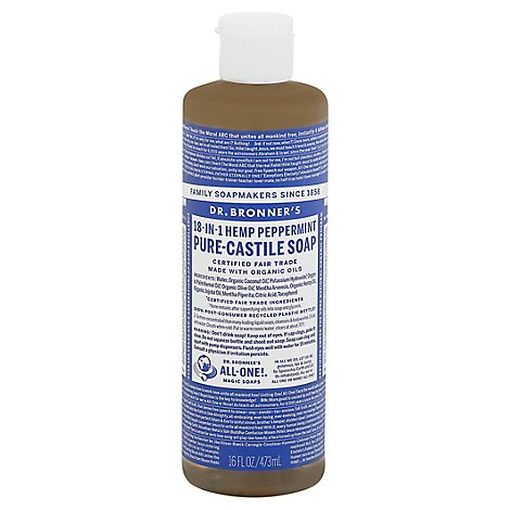 Dr. Bronners Liquid Soap Peppermint Castle - 16 Fl. Oz.