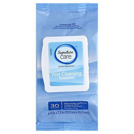 Signature Care Towelette Wet Cleansing Makeup Remover - 30 Count