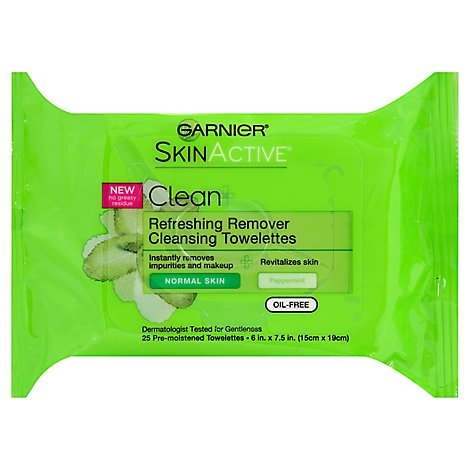 Garnier SkinActive Clean Wet Towelettes Cleansing Refreshing Remover Normal Skin - 25 Count