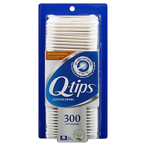 Q-tips Cotton Swabs Antimicrobial - 300 Count