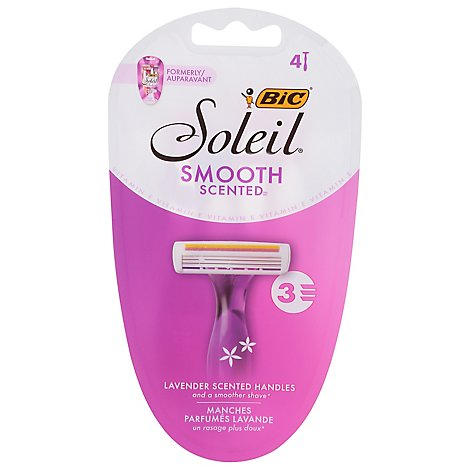 BIC Soleil Shavers Twilight Razors Lavender Scented Handles 3 Blades - 4 Count