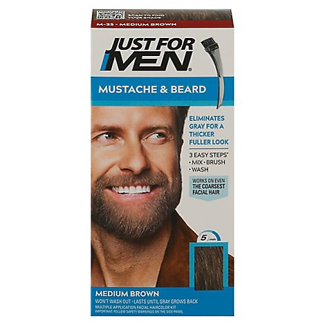 Just For Men Brush In Color Gel Mustache & Beard Medium Brown M-35 - Each