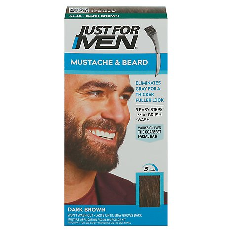 Just For Men Brush In Color Gel Mustache & Beard Dark Brown M-45 - Each