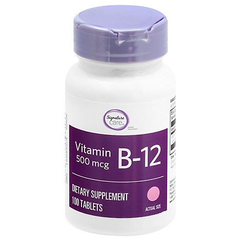 Signature Care Vitamin B12 500mcg Dietary Supplement Tablet - 100 Count