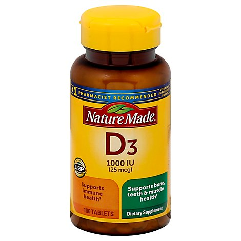 Nature Made Vitamin D Supplement Tablets D3 1000 IU - 100 Count