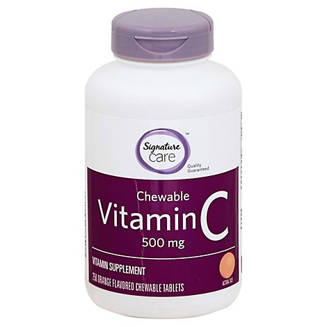 Signature Care Vitamin C 500mg Orange Chewable Dietary Supplement Tablet - 250 Count
