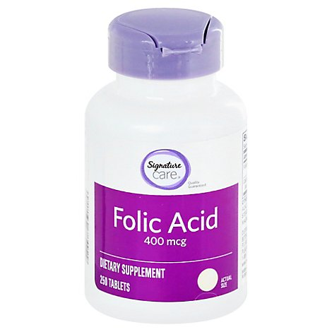 Signature Care Folic Acid 400mcg Dietary Supplement Tablet - 250 Count