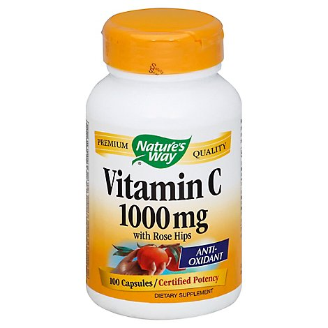 Natures Way Vitamin C-1000 with Rose Hips Capsules - 100 Count
