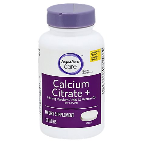 Signature Care Calcium Citrate + Vitamin D3 500IU Dietary Supplement Tablet - 120 Count