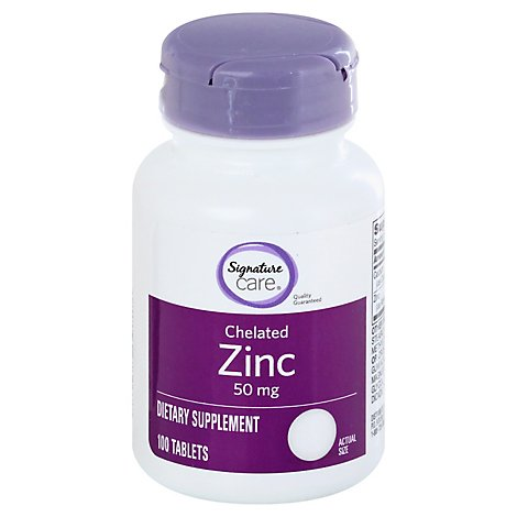 Signature Care Zinc 50mg Dietary Supplement Tablet - 100 Count