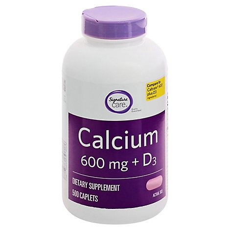 Signature Care Calcium 600mg With Vitamin D3 800IU Dietary Supplement Tablet - 500 Count