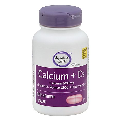 Signature Care Calcium 600mg With Vitamin D3 800IU Dietary Supplement Tablet - 120 Count