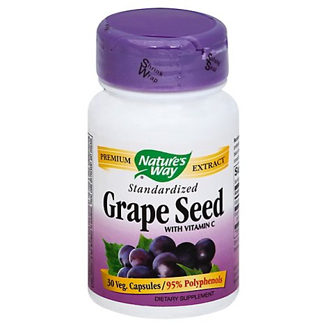 Natures Way Grape Seed Standardized Capsules - 30 Count