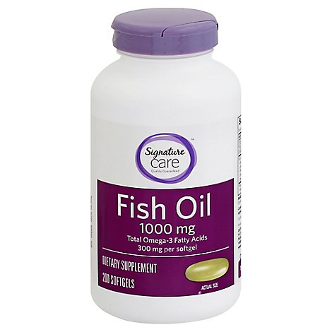 Signature Care Fish Oil 1000mg Omega 3 300mg Dietary Supplement Softgel - 200 Count