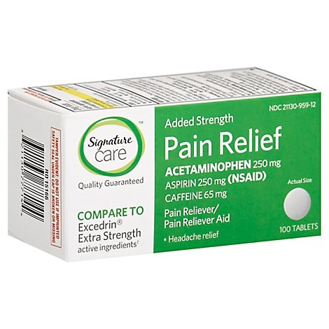Signature Care Pain Relief Tablet Acetaminophen 250mg Aspirin 250mg Extra Strength - 100 Count