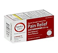Signature Care Pain Relief Tablet Acetaminophen 325mg No Aspirin Regular Strength - 100 Count