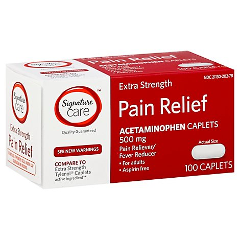 Signature Care Pain Relief Caplet Acetaminophen 500 mg Extra Strength Aspirin Free - 100 Count
