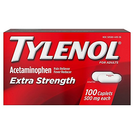 TYLENOL Pain Reliever/Fever Reducer Caplets Extra Strength 500 mg - 100 Count