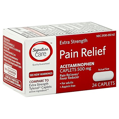 Signature Care Pain Relief Caplet Acetaminophen 500 mg Extra Strength Aspirin Free - 24 Count
