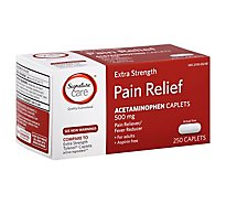 Signature Care Pain Relief Caplet Acetaminophen 500 mg Aspirin Free Extra Strength - 250 Count