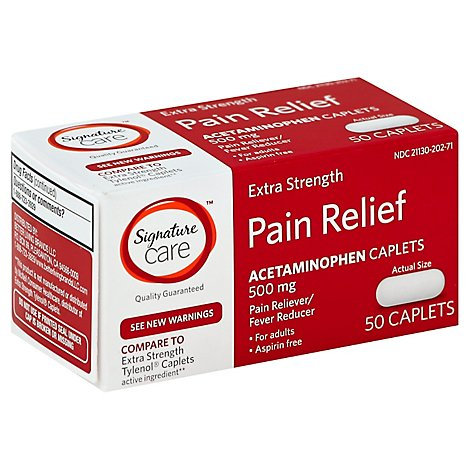 Signature Care Pain Relief Caplet Acetaminophen 500 mg Extra Strength Aspirin Free - 50 Count